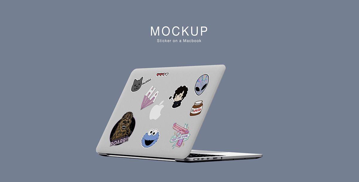 Free Mockup Sticker On A Macbook On Behance