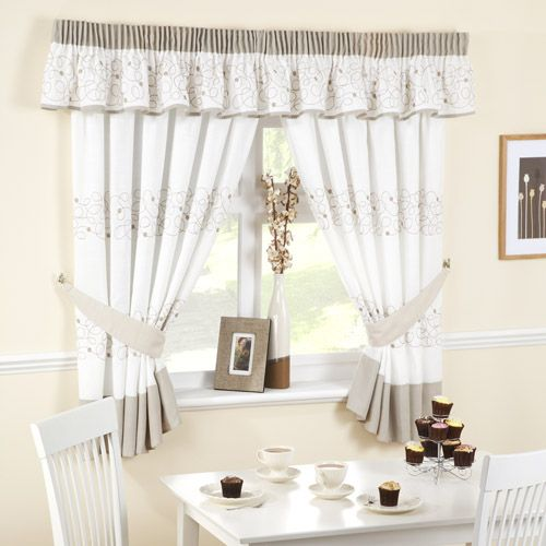 Black and Yellow Kitchen Curtains | Affordable Jazz Beige/White ...