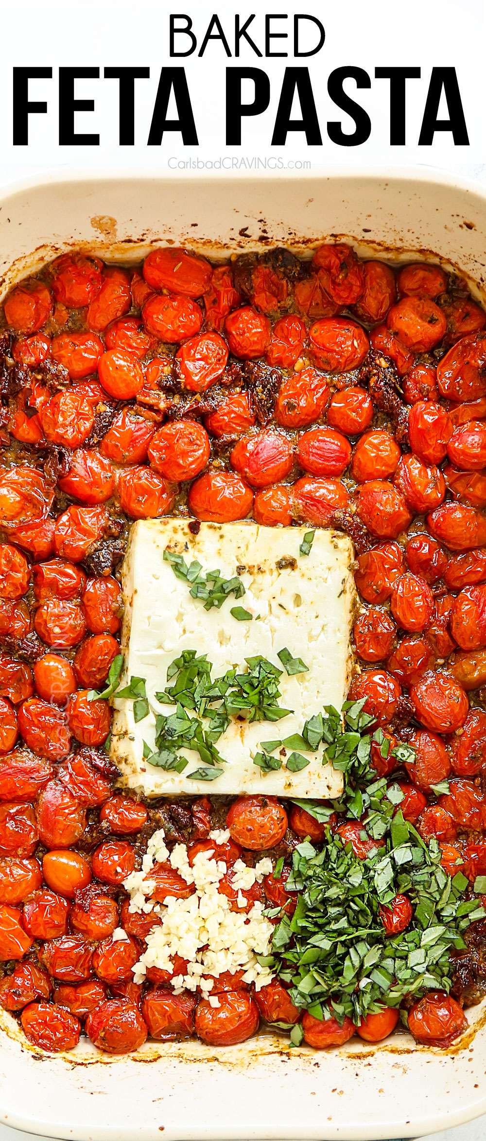 The famous TikTok feta pasta with pesto and sun-dried tomatoes all baked in one pan! It's sensationally easy, creamy and bursting with big bold flavors! #tomatorecipes #tomatoes #feta #pasta #pastarecipes #basil #dinner #dinnerrecipes #dinnerideas #recipes #recipes #recipeoftheday #recipeideas #recipe