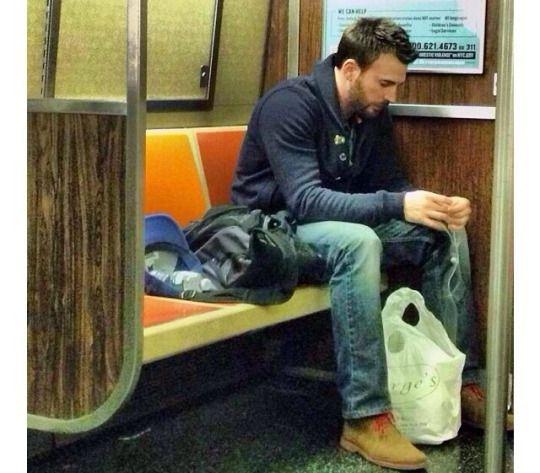 Chris Evans taking the Boston Metro.