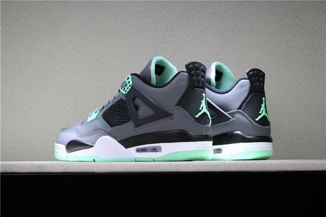 buy popular 41feb 813f8 air jordan 4 retro green glow dark grey green glow cement grey black shoes