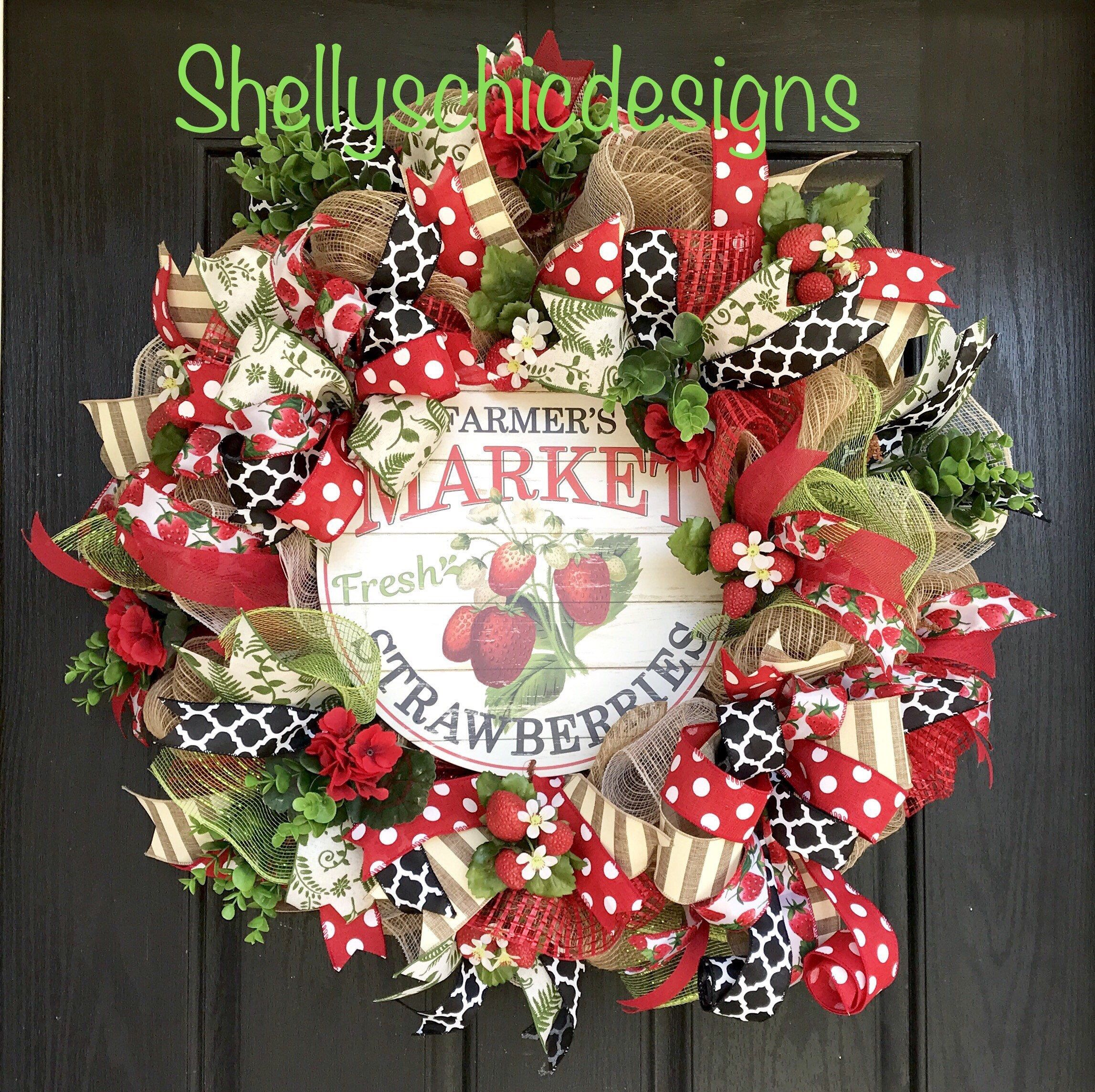 Photo of Strawberry wreath, Summer mesh wreath,Strawberry burlap wreath,Summer deco mesh wreath, Strawberry Deco mesh wreath, rustic farmhouse wreath