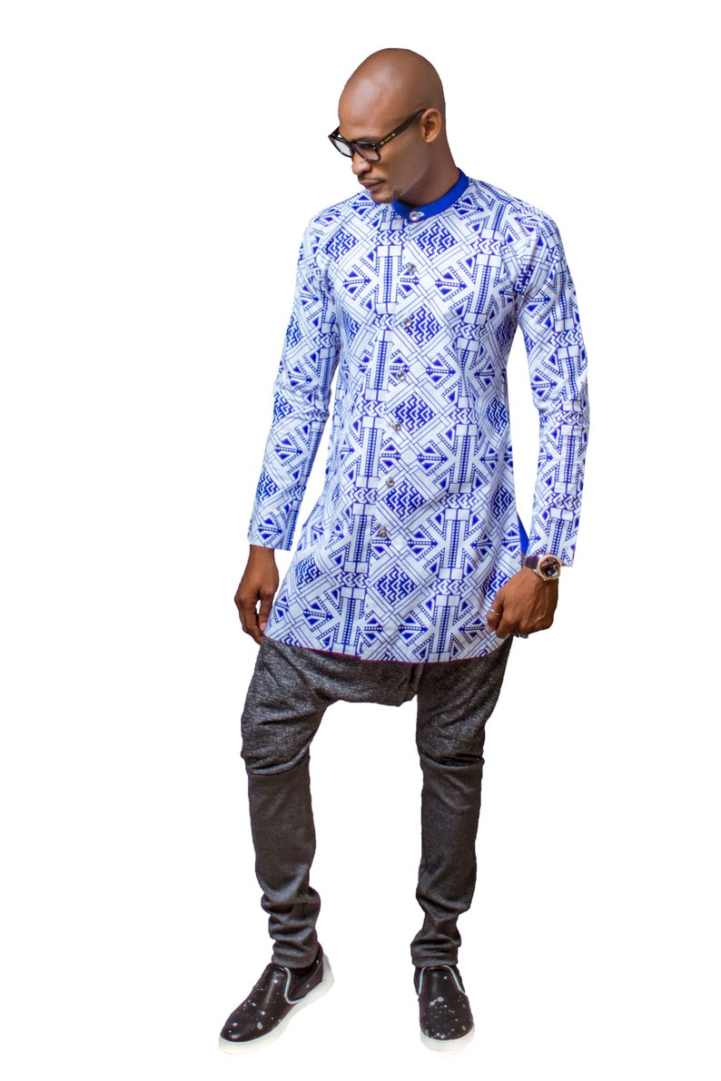 African Men Clothing, African Print Shirt, African Clothing, African Mens Wear, African Shirt, Blue and White Shirt, African Dress Shirt #africanprintdresses