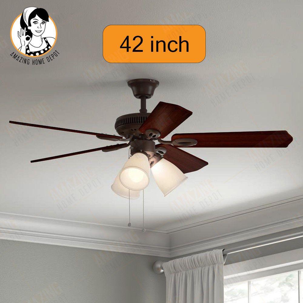 Hampton Bay Ceiling Fan Light 3 Led Shade Antique Indoor Oil