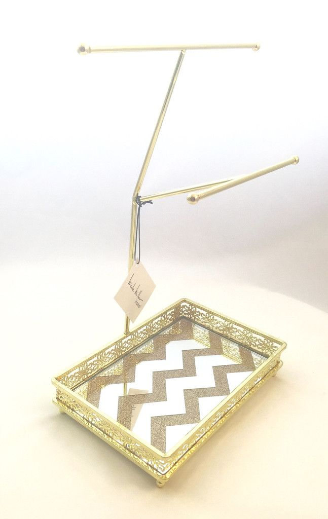 Brass Jewelry Stand With Copper Glitter Mirrored Tray By Nicole