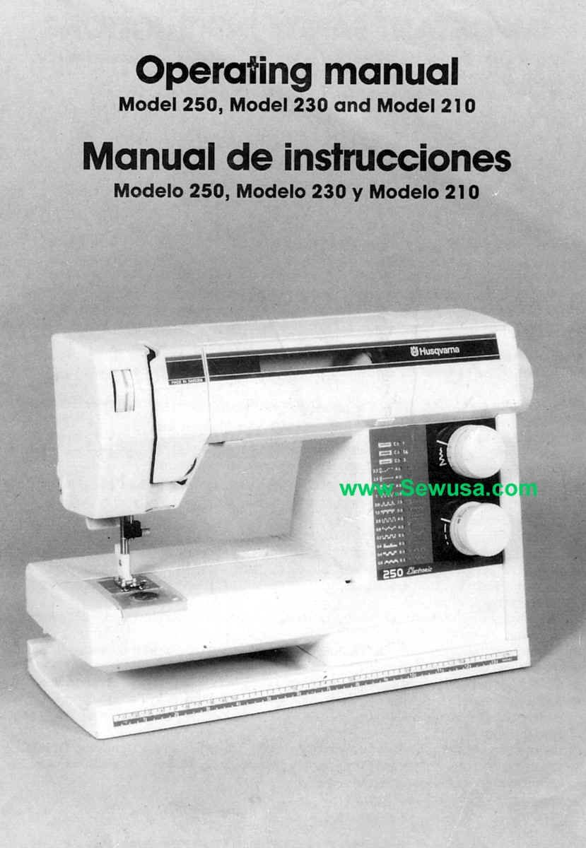 Husqvarna viking 210 230 250 sewing machine manual. Late 1990's model.