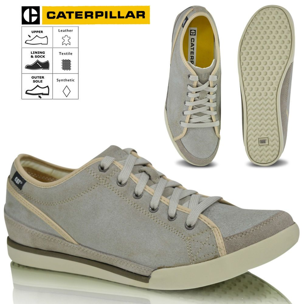 Mens Caterpillar CAT Leather Smart Casual Lace Up Trainers Shoes