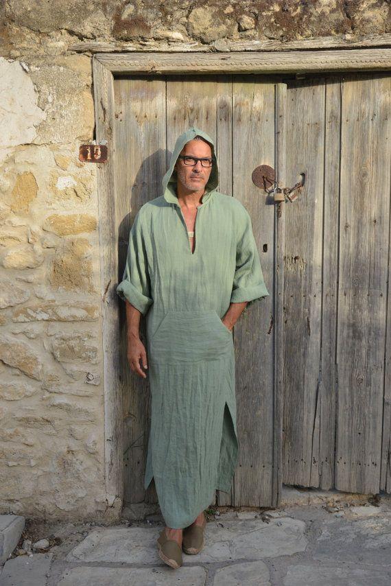 b25593124f Mens linen tunic. Almond green caftan. Hood optional. by YUMEworld. CLASSICO .