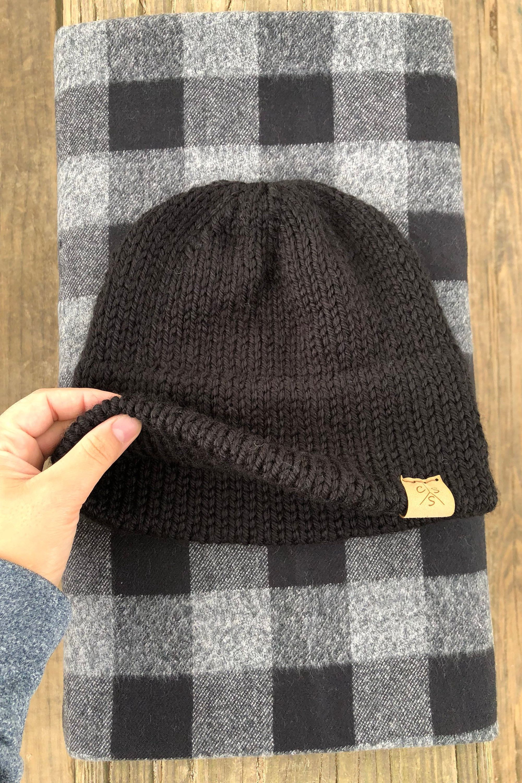 3325e5ecd313a1 Man double brim beanie - simlpe adult double brim hat - boy winter beanie -  father ans son hats set