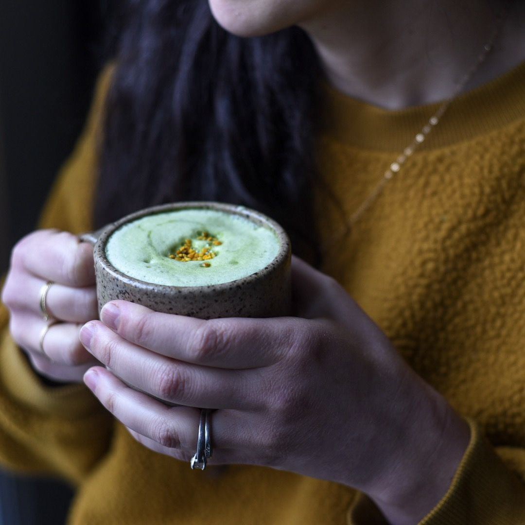 Frothy Matcha Latte (Made In A French Press