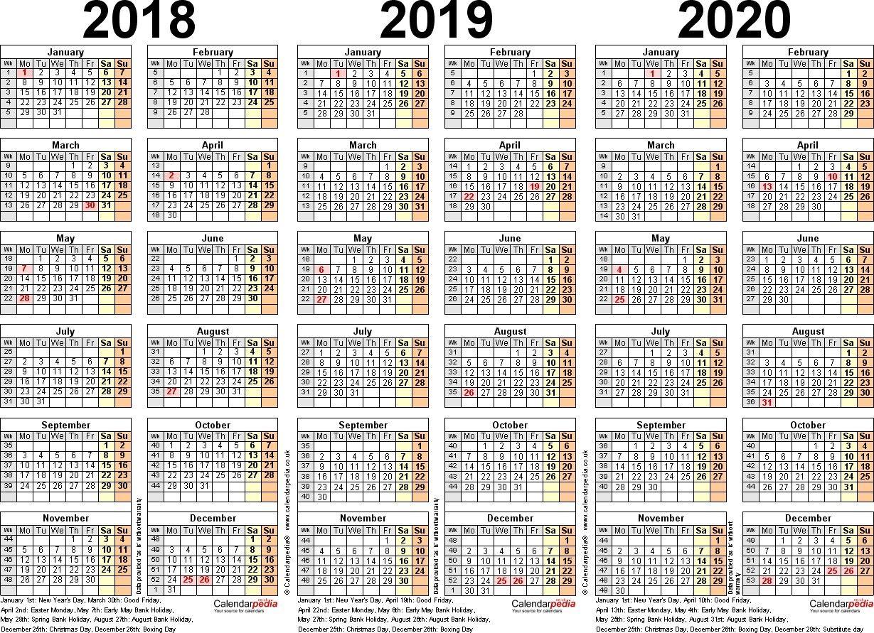 3 Year Calendar Printable 2018 2019 2020 Excel Calendar Calendar Printables Calendar Template