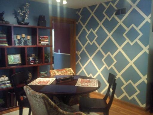 Create a geometric design on you wall with painter 39 s tape - Easy paint designs for walls ...