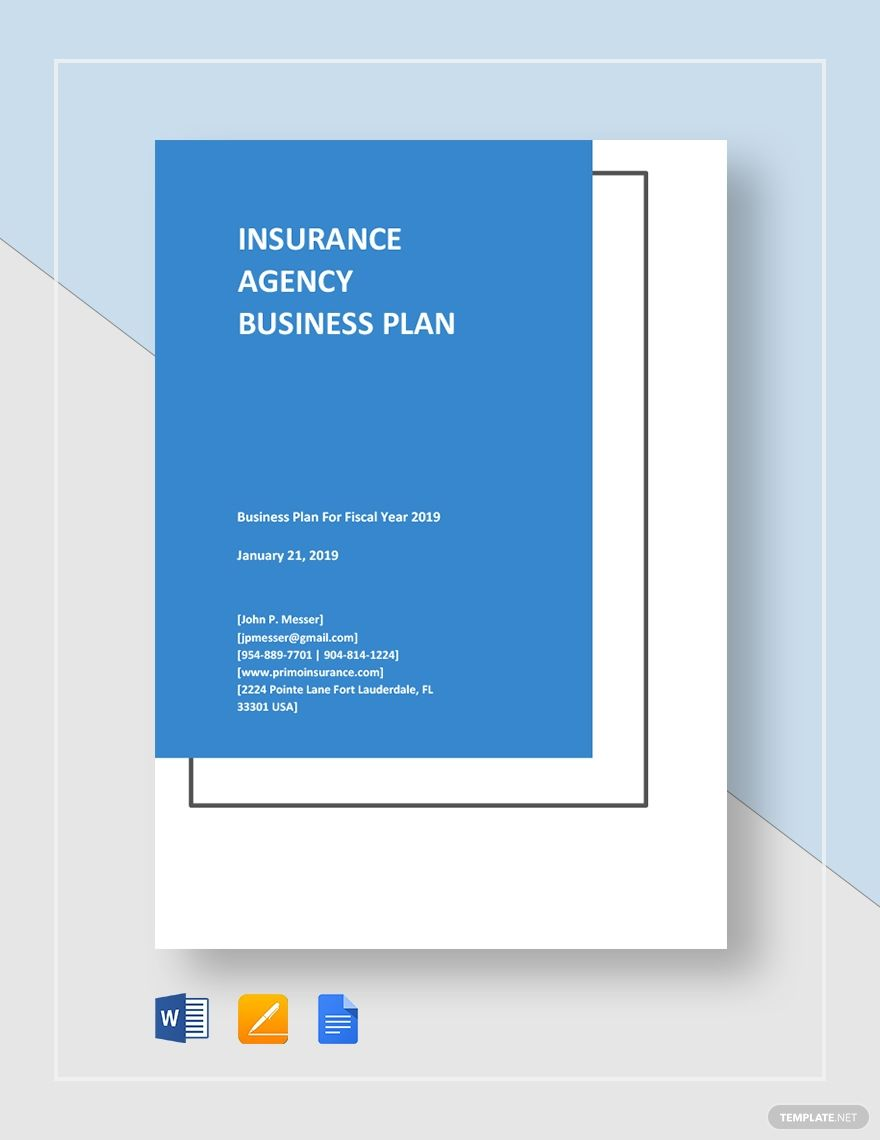 Sample Insurance Agency Business Plan Template In 2020 Business