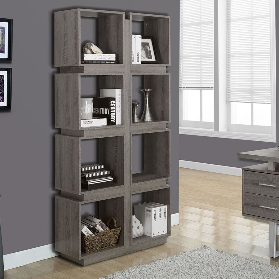 Bookcase gray washed with images cube