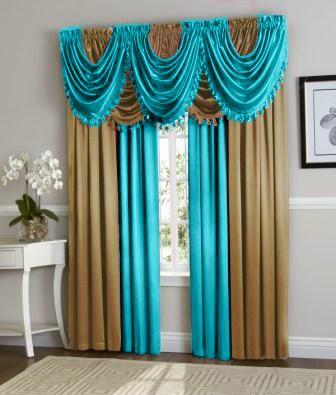 Hyatt Curtain Set Aqua Blue Gold Gold Curtains Living Room Curtains Elegant Curtains