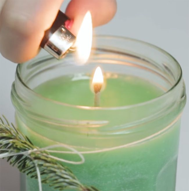 Make a candle at home without the use of wax. This candle burns for 40 hours and will make your apartment smell amazing! Who said you needed to pay so much for candles? With this DIY you will realize how inexpensive making candles really is.What You'll Need:Jar (Bonne Maman jam jars work great!)Vegetable ShorteningCrayonsScented Essential Oil100% Cotton StringScissorsNut (hardware)Skewer StickSteps:Clean and dry a clear jar to hold the candle inFill jar with vegetable shortening and leave ab