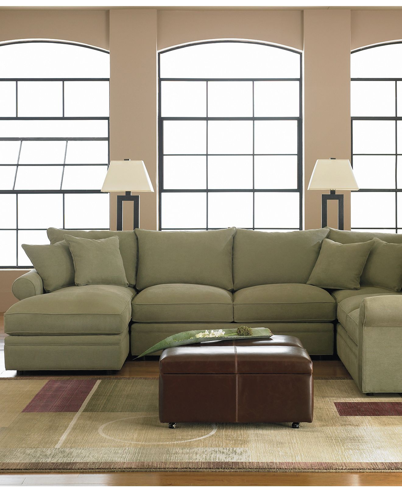 Doss Fabric Microfiber Sectional Sofa 4 Piece Left Arm