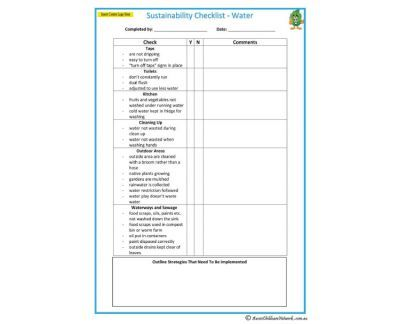 Sustainability Checklist  Water  Early Years  Nqs