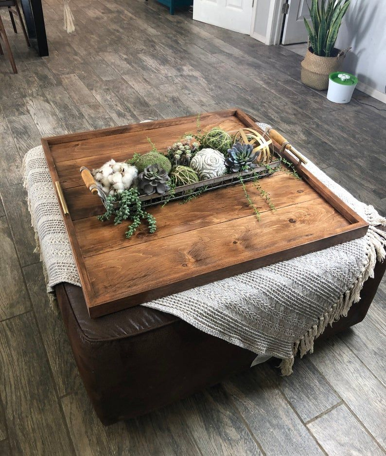Ottoman Tray Oversized Handcrafted Wooden Ottoman Trays Ottoman Tray Ottoman Decor Dinning Room Centerpieces