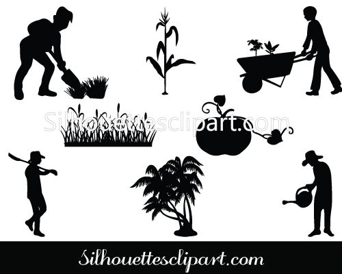Agriculture Silhouette Vector Graphics Pack - Silhouette Clip Art ...