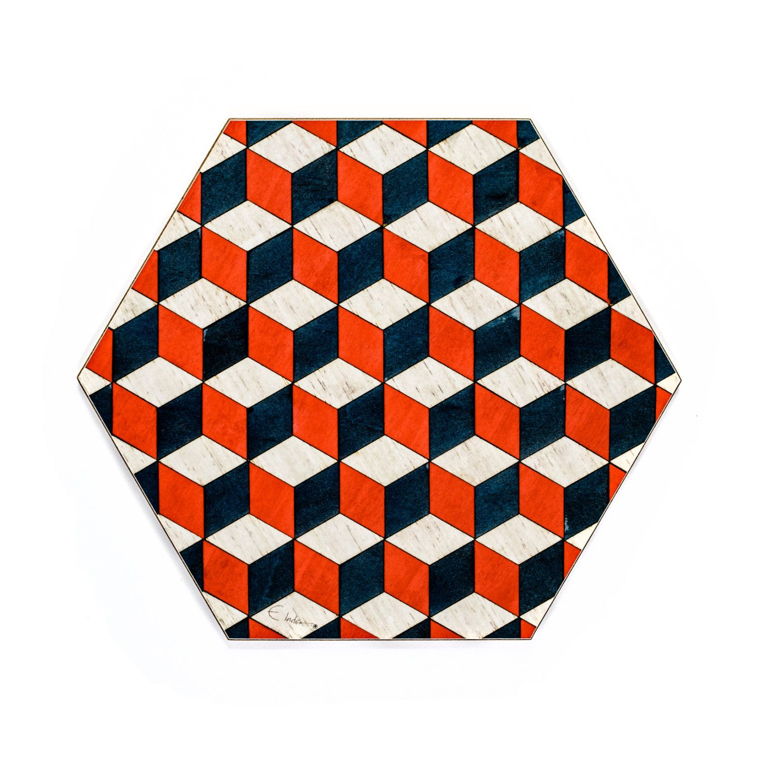 4 Hexagon Placemats Retro Style £32 Per Set Heat Resistant Melamine With  Dark Green Baize Underneath To Protect Furniture Matching Coasters Avai…