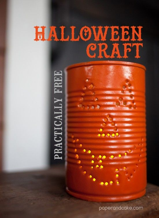 halloween craft decorations Fun with Cans Pinterest Craft - halloween crafts decorations