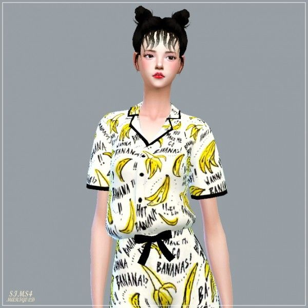 SIMS4 Marigold: Pajamas Shirts | Cute K-Couple Family CC List | Sims