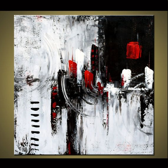 Large Abstract Painting Black And White Painting Original Modern Painting Wall Art Canvas Art Cityscape Abstract Abstract Art Painting Abstract Canvas Art