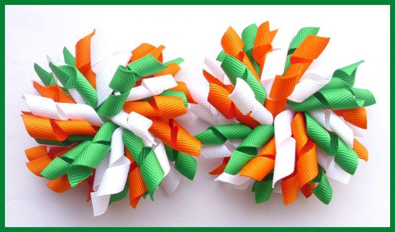 Emerald Green Orange White School Korker Hair Bows-