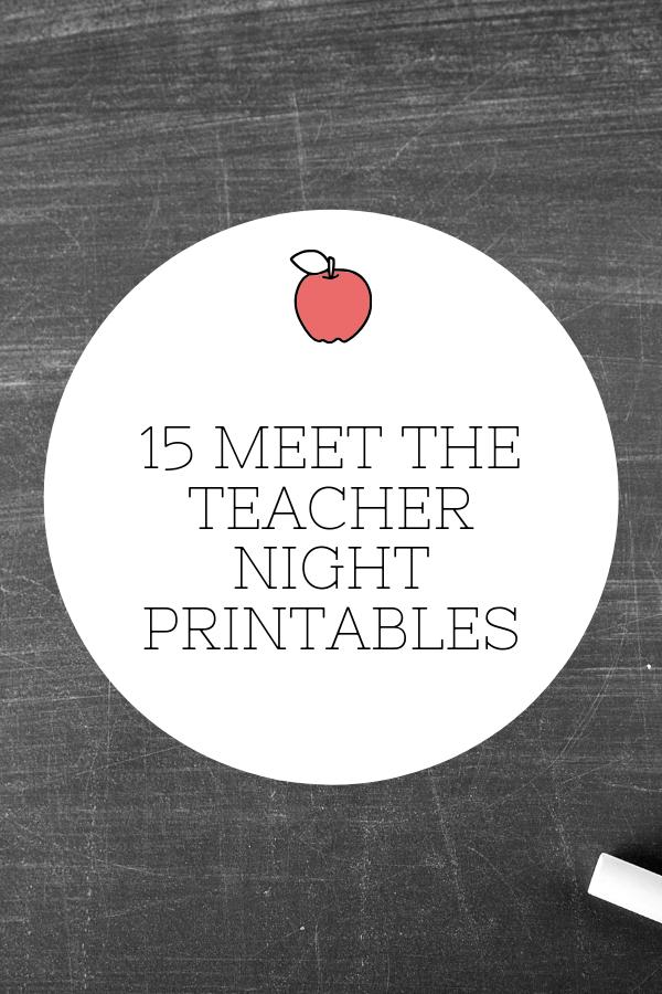15 Meet the Teacher Night Printables #meettheteachernight