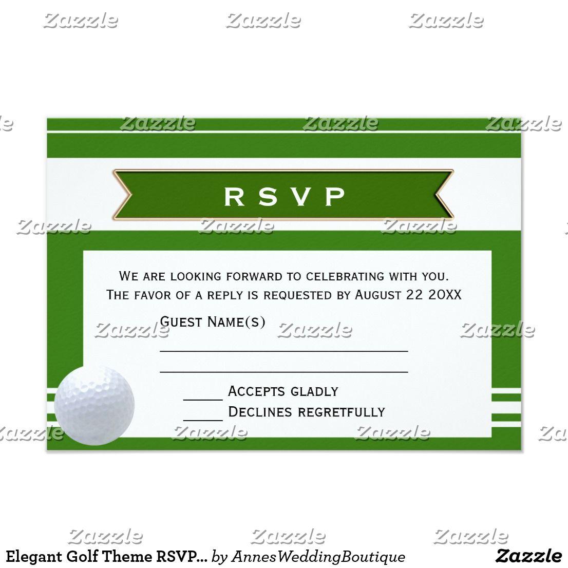 Elegant golf theme rsvp wedding invitation card zazzle