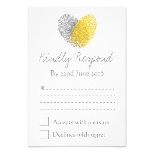 Yellow Gray Heart Fingerprint Wedding RSVP 9 Cm X 13 Cm Invitation ...