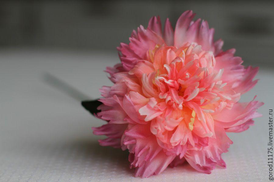 Купить Пион из шелка ручной работы.Интерьерный пион. - розовый, пион, шелковый пион