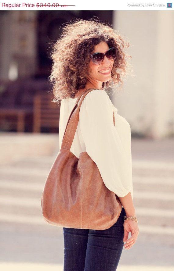 Large Brown leather bag, Leather handbag, Soft leather, Tan leather bag, Beautiful handmade screen printed lining  / On SALE 272 $