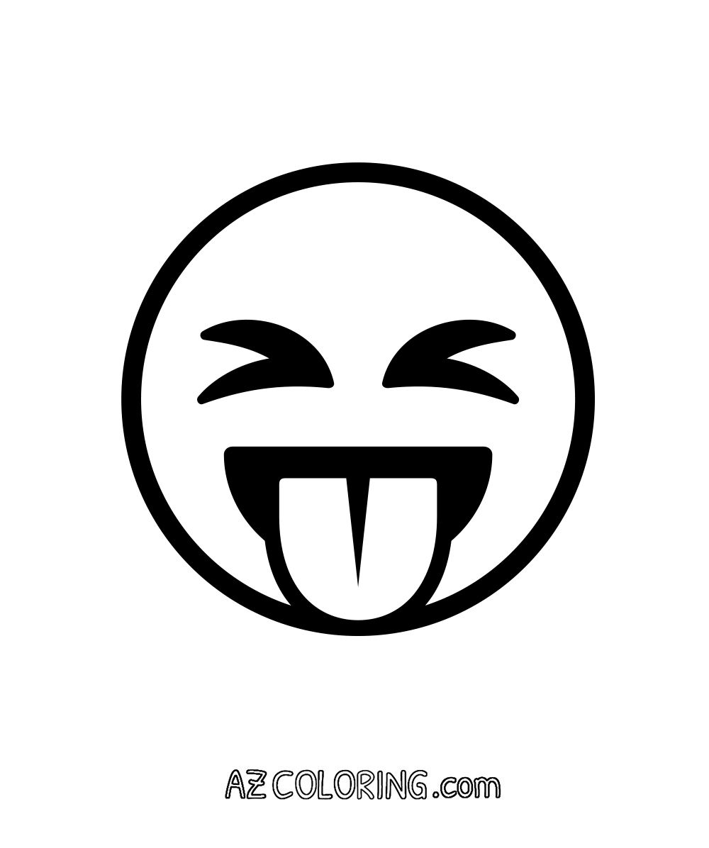 Coloring pages eyes - Face With Stuck Out Tongue And Tightly Closed Eyes Emoji Coloring Page