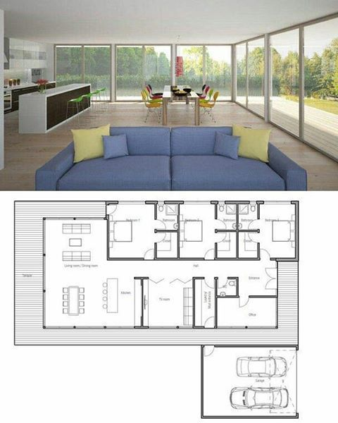 """2,704 Likes, 29 Comments - Arquitetura e Urbanismo (@arquinews) on Instagram: """"🇧🇷 O projeto é legal, só mudaria a entrada de lugar. Por Concept Home 👏❤/ 🇺🇸 The project is cool,…"""""""