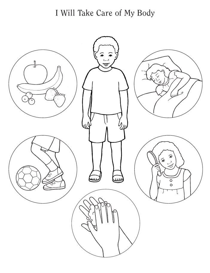 healthy living colouring page