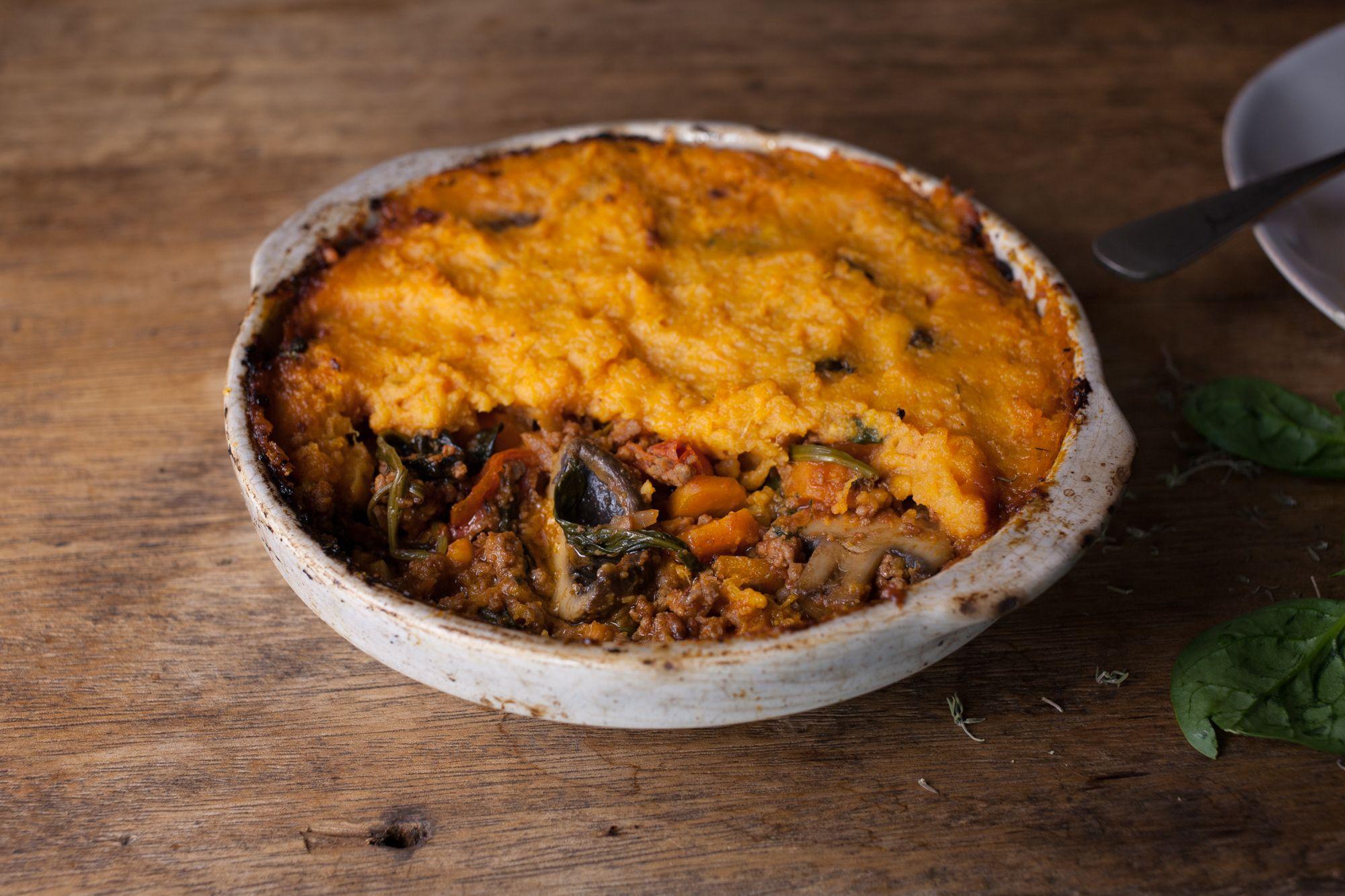 Shepherd's pie with sweet potato mash & chestnut mushrooms ...