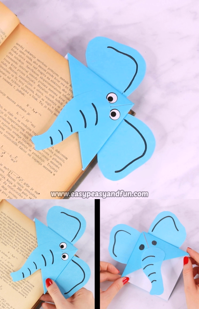 If you want to give your kids a simple origami project to make, that's also a super useful one – have them make an elephant corner bookmarks.