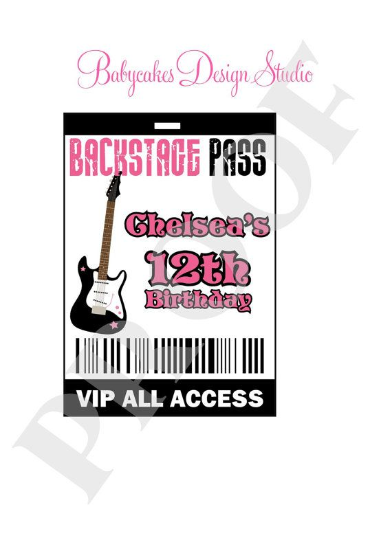 Rockstar Backstage Pass VIP DIY Print Your Own By Jcbabycakes, $7.00  Free Vip Pass Template