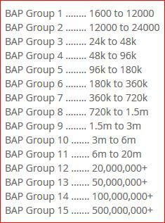 The different BAP groups on PaidVerts