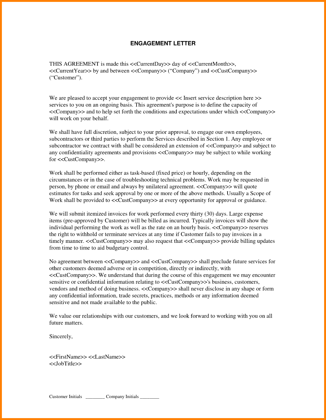 Contract Proposal Letter Engagementletterwithservicesagreement