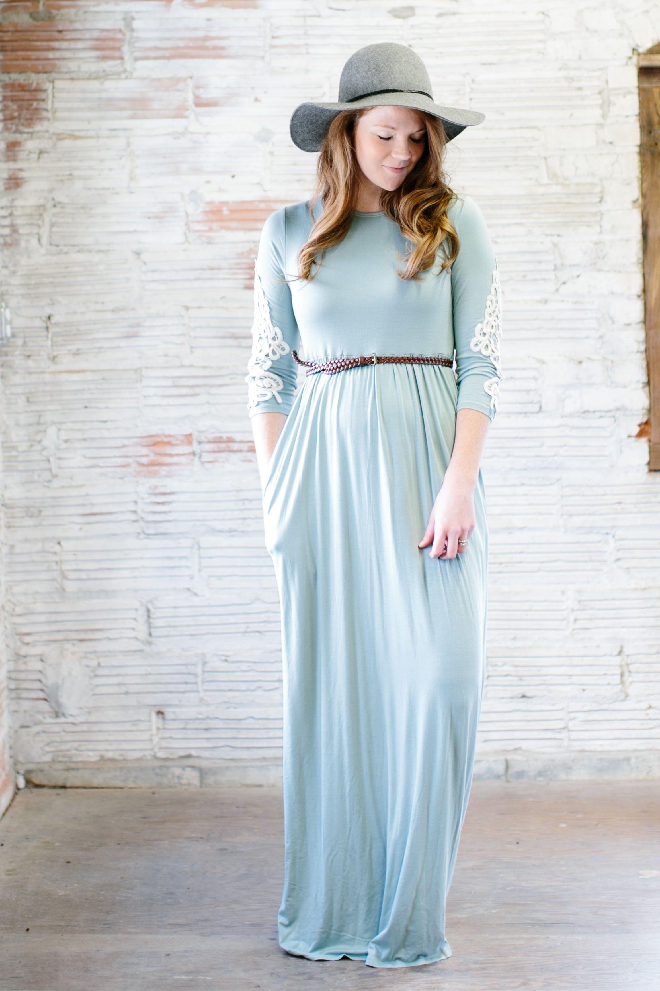 Bridget crochet sleeve long modest maxi dress in sage