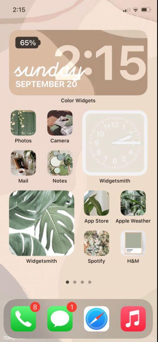 aesthetic home screen ios 14 idea 🧺 in 2020 | Homescreen ...