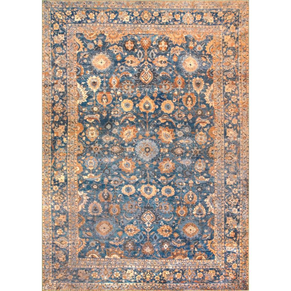 Nuloom Archaic Floral Border Blue 6 Ft X 8 Ft Area Rug Disa03a