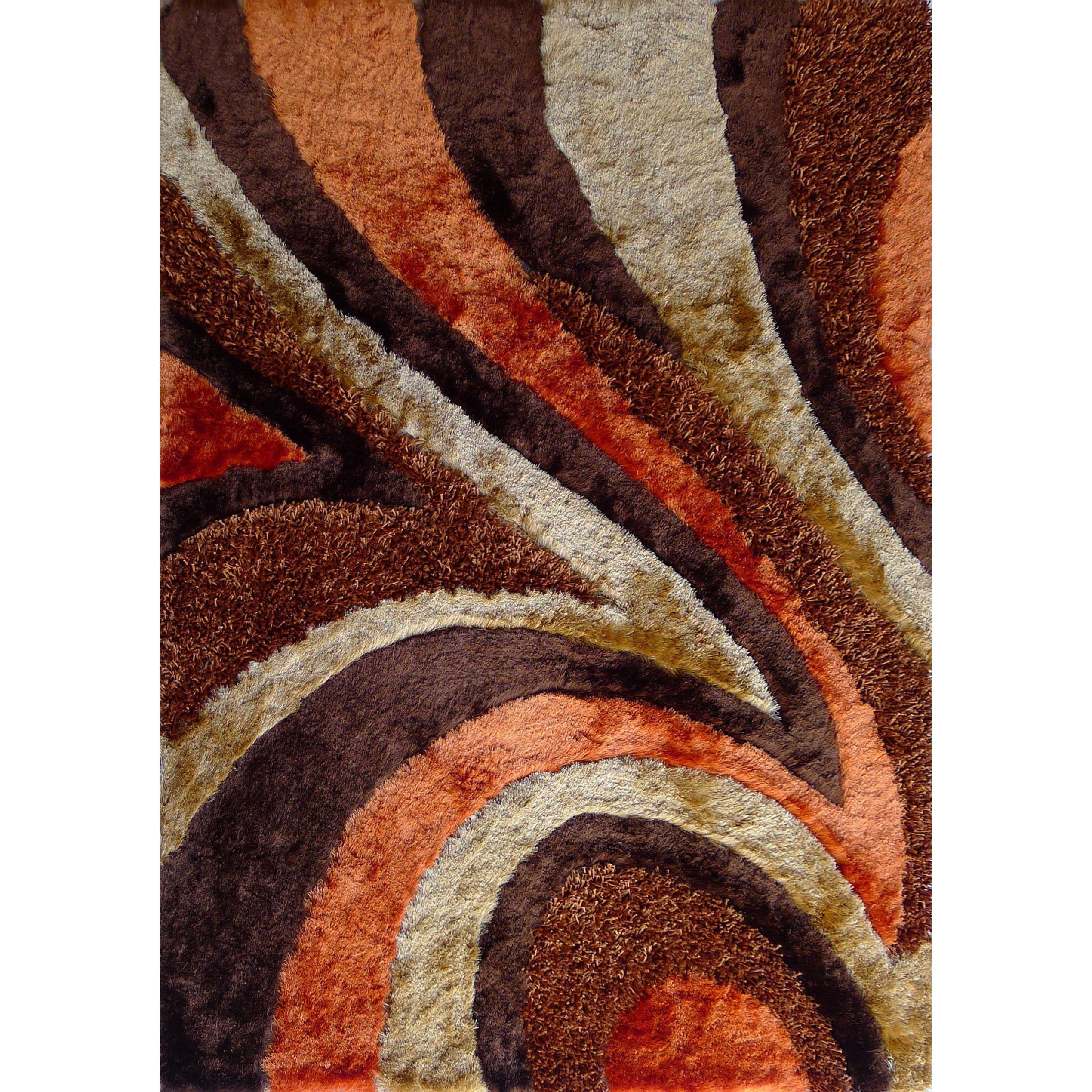 Beige Brown Orange Polyester Geometric Shag Area Rug 5 X 7