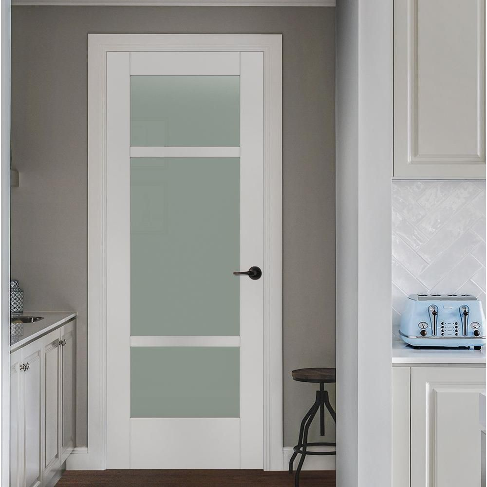 Jeld wen 32 in x 80 in moda primed white 3 lite solid for Solid glass shower doors
