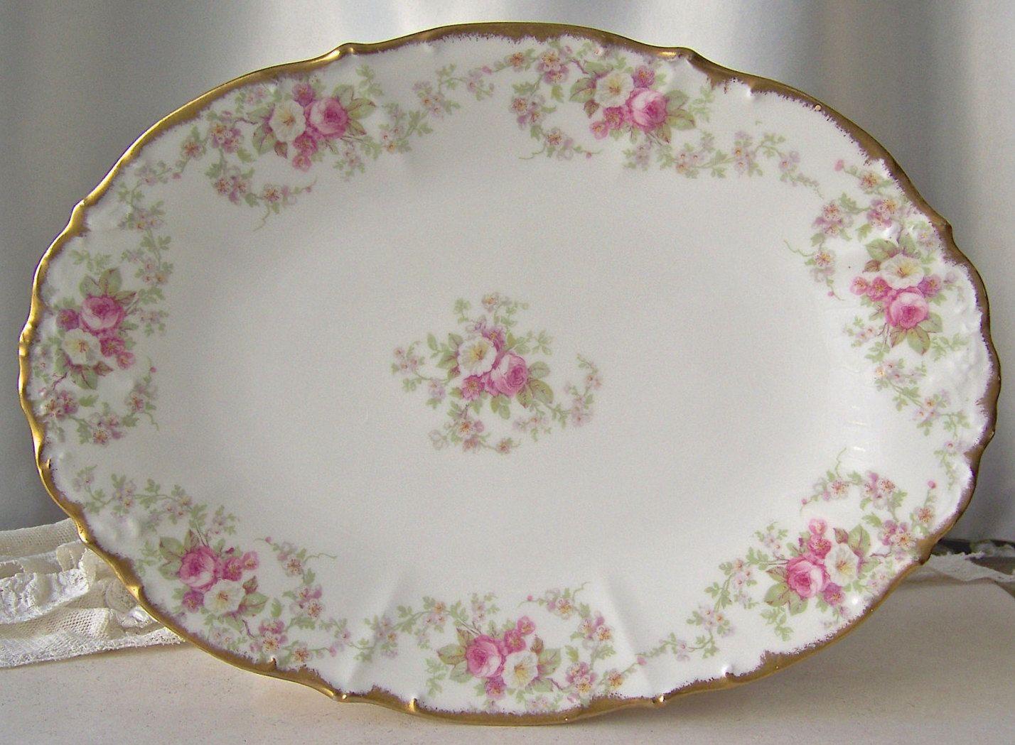 Vintage Oval Porcelain Plate Serving Platter Garlands of Roses Dessert Plate Porcelain Plate Elite France by cynthiasattic on Etsy