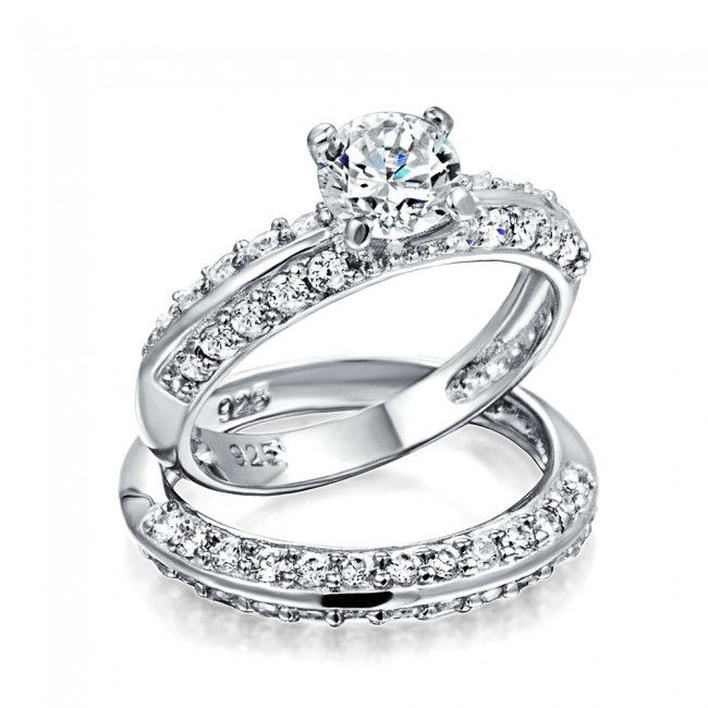 Vintage Sterling Silver Round Cut and Pave Engagement Ring Set