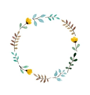 Flower crown round. Floral frame vector watercolor